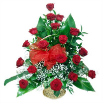 18 roses in a basket