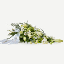 Classic funeral spray with ribbon